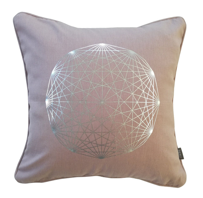 Solitaire Silver on Nude Pink Foiled Cushion Cover