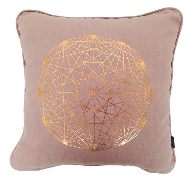 Solitaire Copper on Nude Pink Foiled Cushion Cover