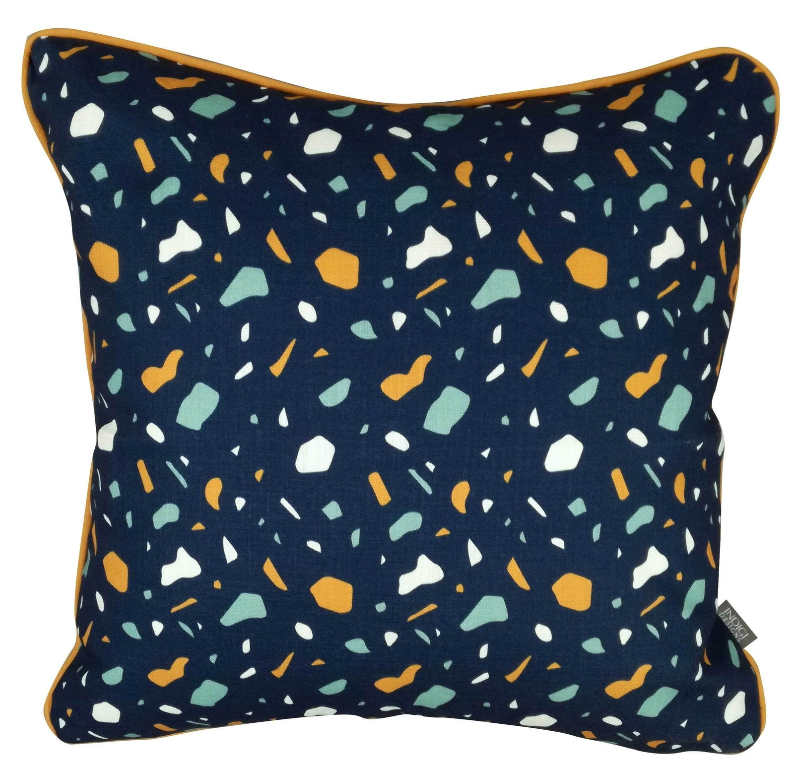 Digital Terrazzo Navy Cushion Cover with Piping