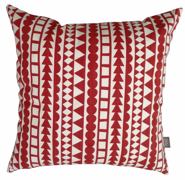 Tribal Stripe Deep Red Cushion Cover