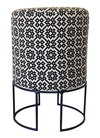 Loop Stool, Black Epoxy with Kuba Kuba Black