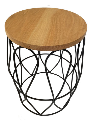 Pythag Side Table, Gold Epoxy with Wooden Oak Top