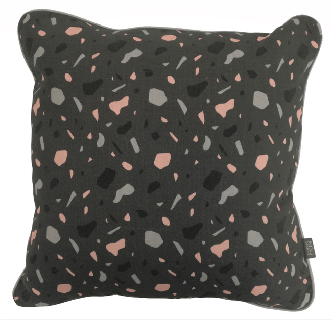 Digital Terrazzo Grey Cushion Cover with Piping