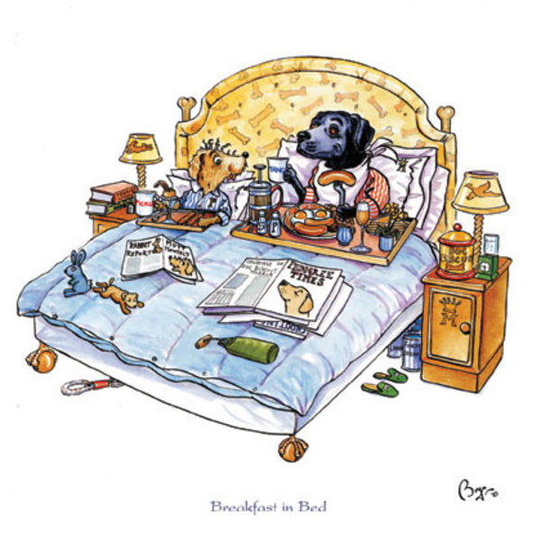Dogs Breakfast in Bed Greeting Card