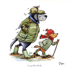 Dogs Long Wet Walk Greeting Card