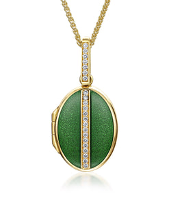 Oval Diamond & Green Enamelled Locket
