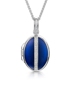 Oval Diamond & Blue Enamelled Locket