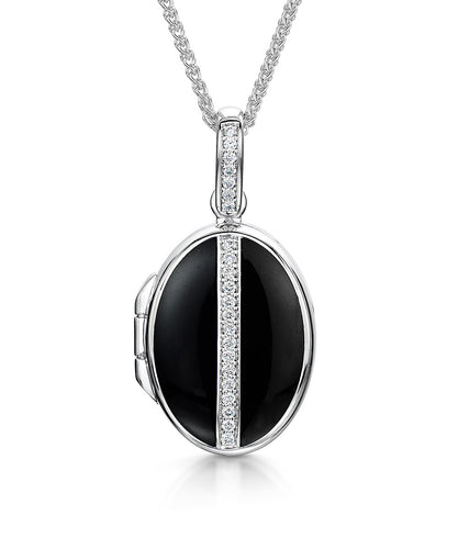 Oval Diamond & Black Enamelled Locket