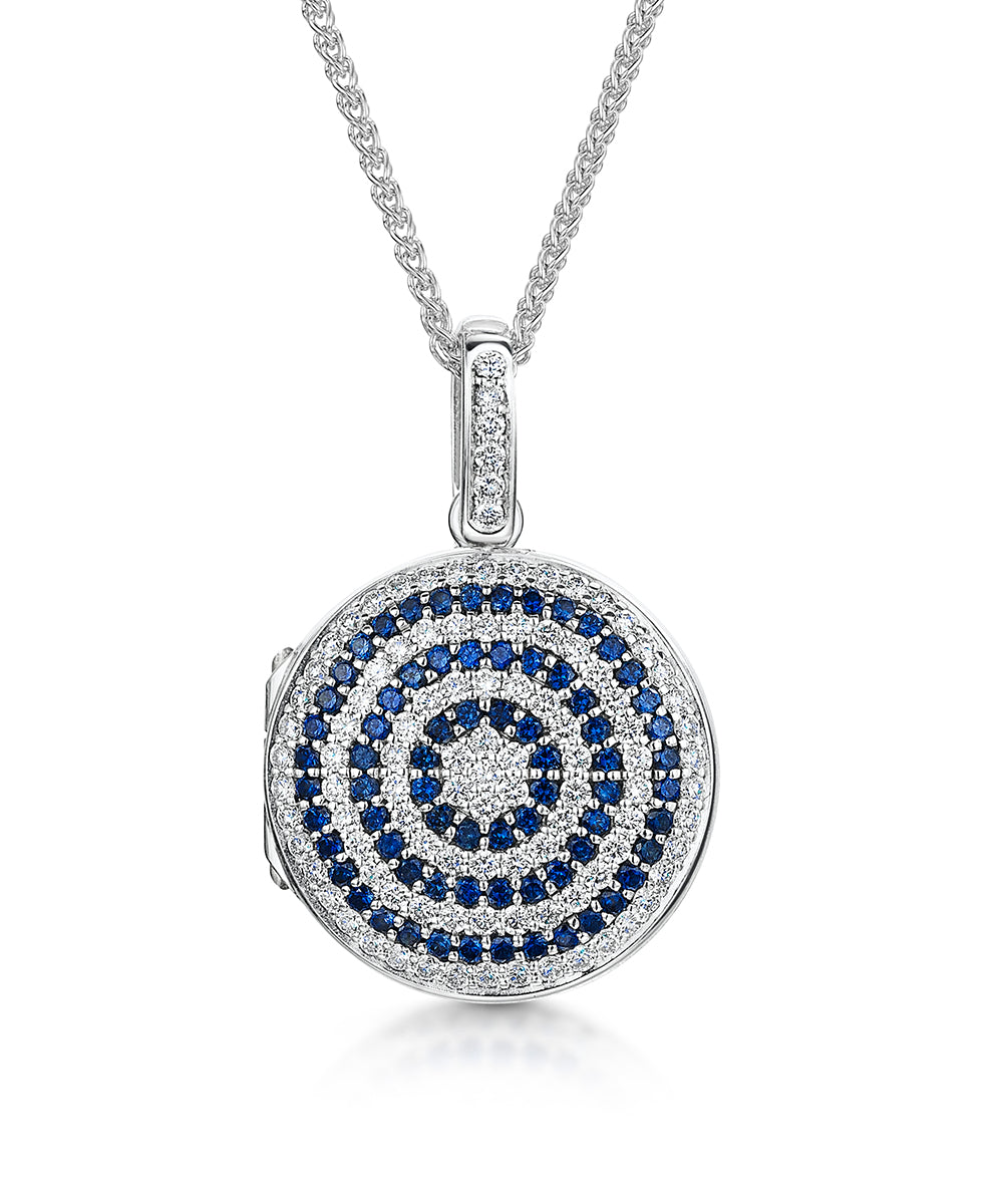 Round Diamond and Sapphire Locket