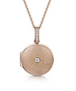 Round Guilloche Locket