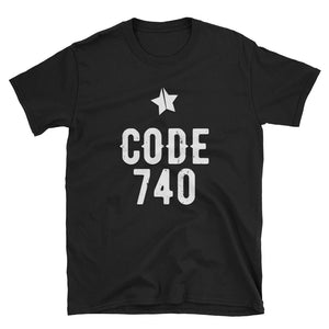 Classic CODE 740 distressed logo tee. Black color.
