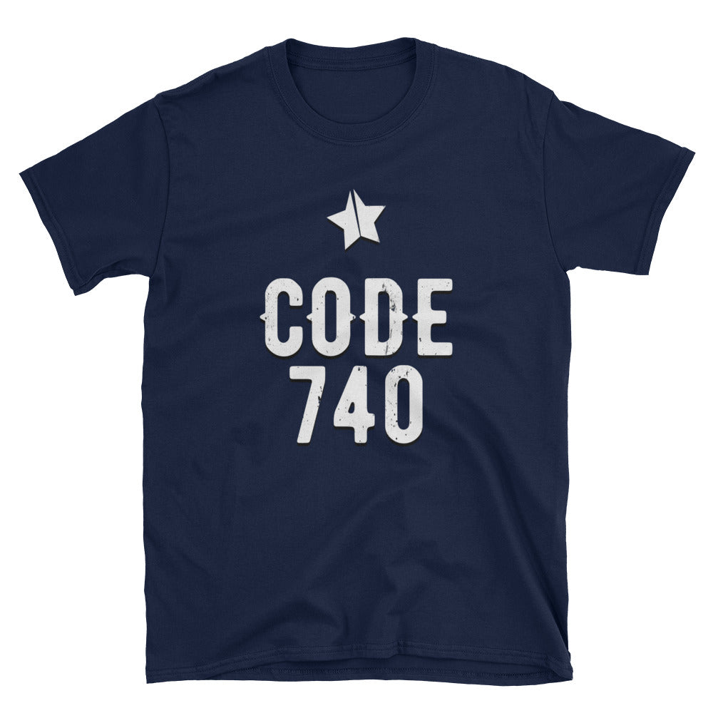 Classic CODE 740 distressed logo tee. Blue color.