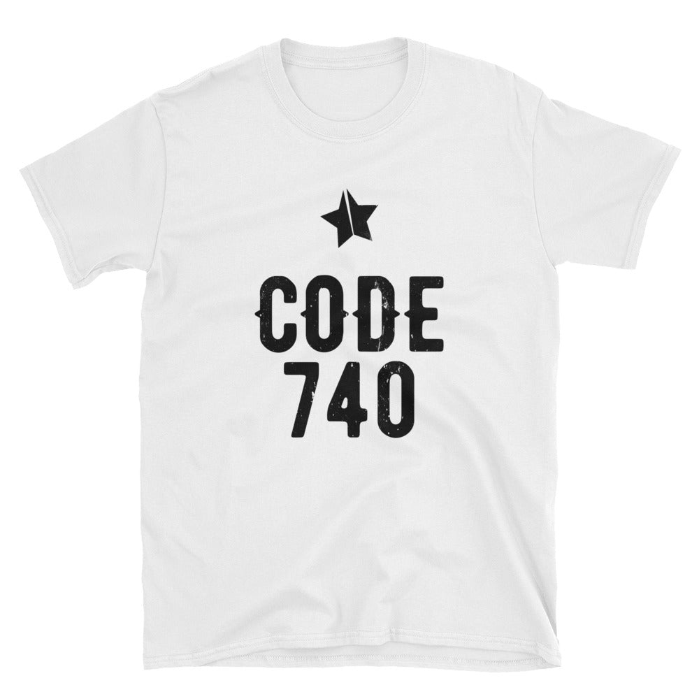 Classic CODE 740 distressed logo tee. White color.