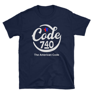 Hand-Drawn Script CODE 740 graphic tshirt. Blue tshirt.