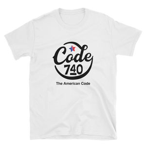 Hand-Drawn Script CODE 740 graphic tshirt. White tshirt.