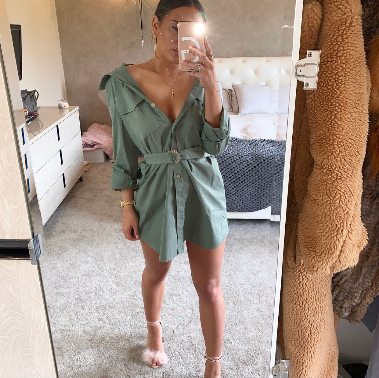 Khaki Belted Mini Dress