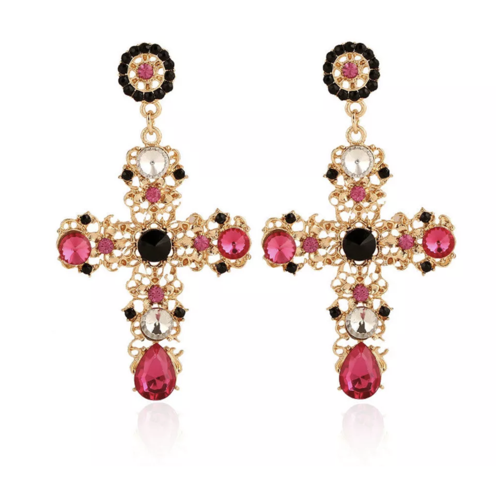 Gold Cross Earrings With Multi Coloured Gems