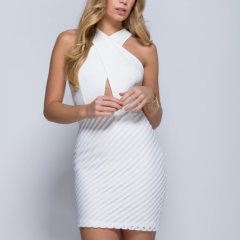 White halter neck cross over mini dress