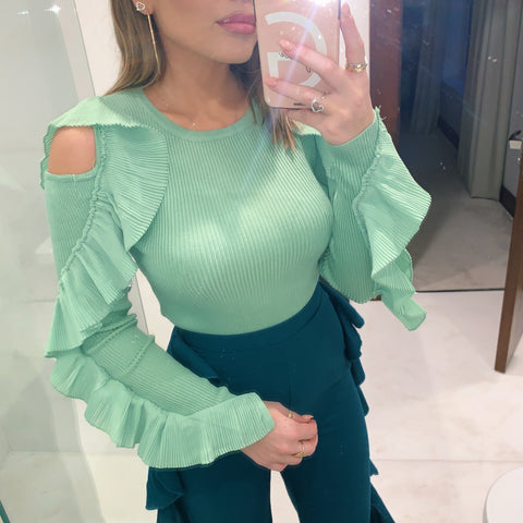 Green Puff Sleeve Dress