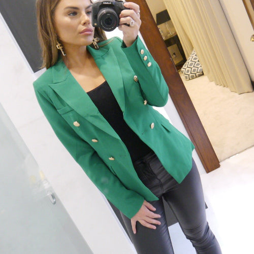 Green Double Breasted Military Blazer