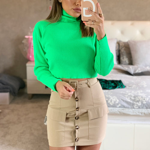 Green Roll Neck Cropped Jumper