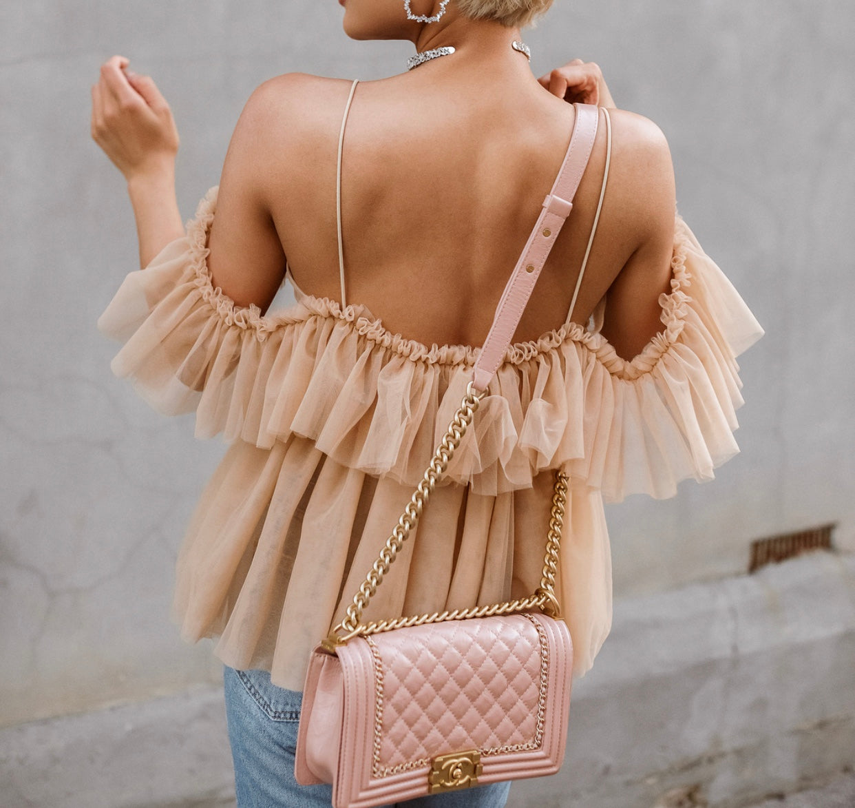 Nude Cold Shoulder Tulle Blouse