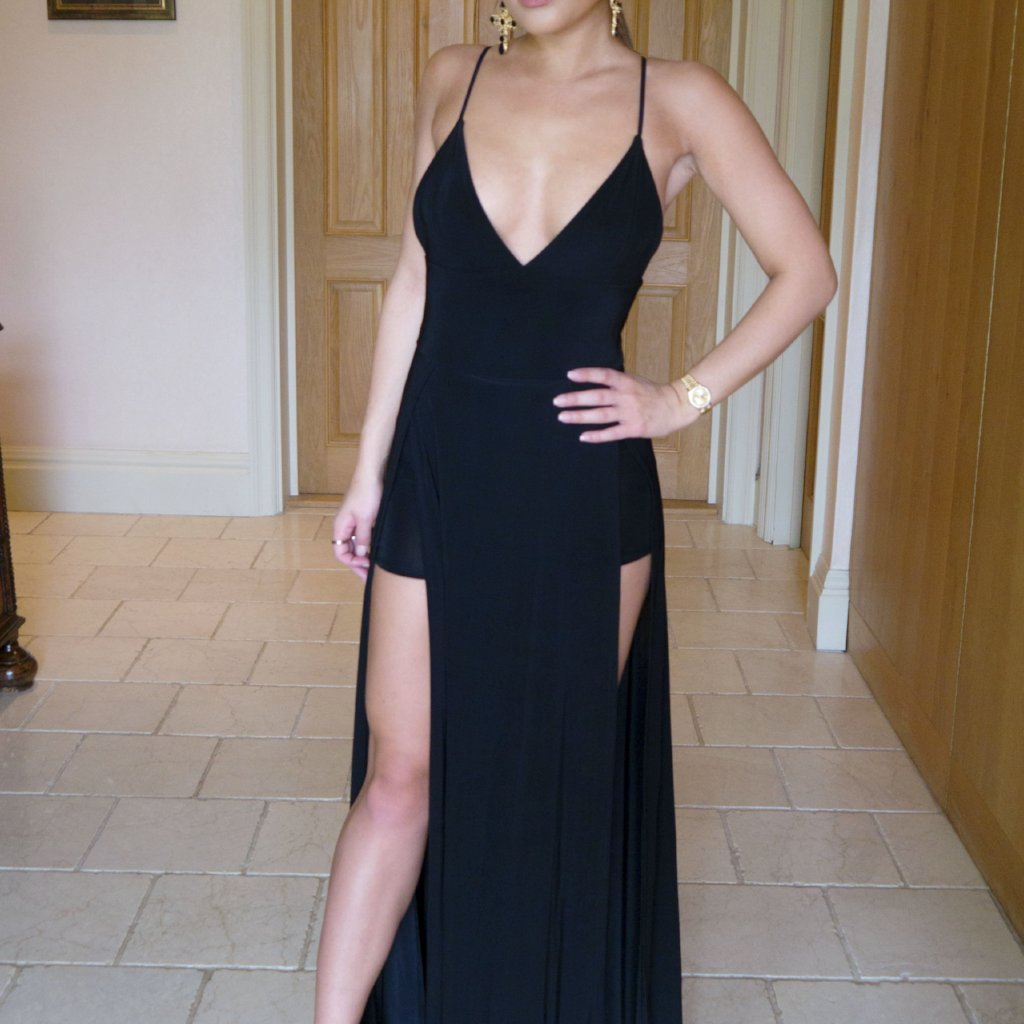 Black Plunge Thigh Split Maxi Dress With Shorts
