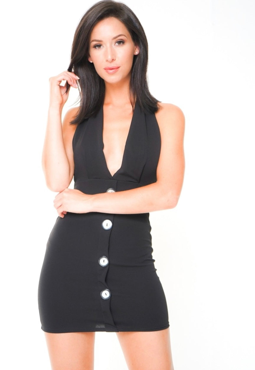 Black Halterneck Dress With Button Detailing