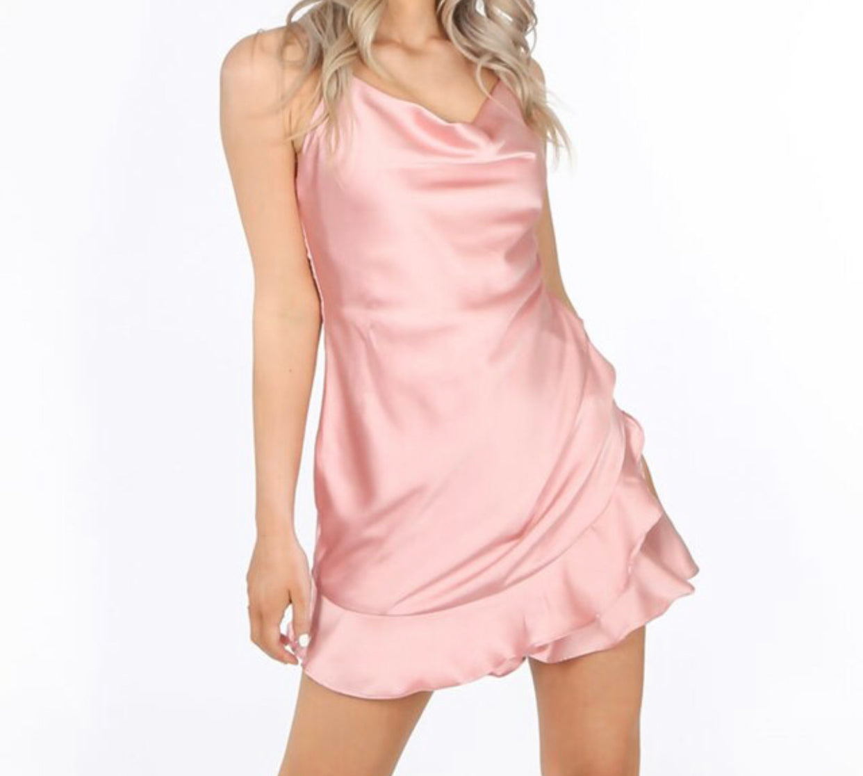 Pink Satin Playsuit With Frilled Hem