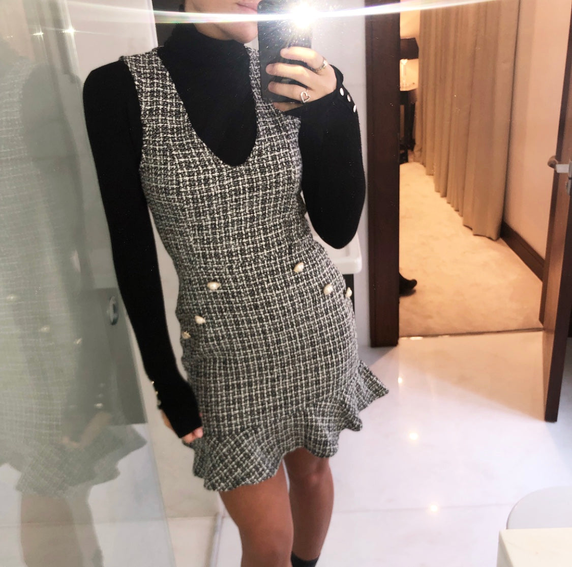 Checked Mini Dress With Pearl Button Detailing