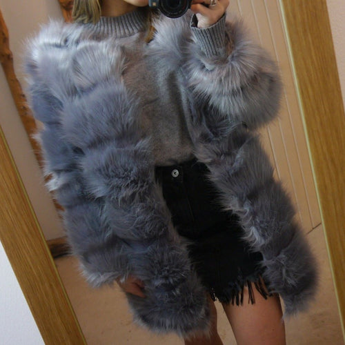 Long Grey Faux Fur Coat