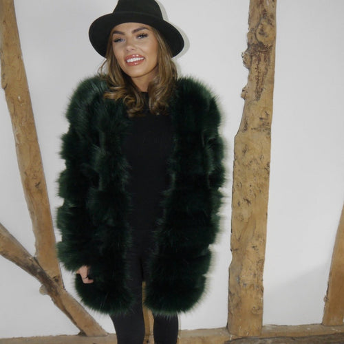 Long Bottle Green Faux Fur Coat