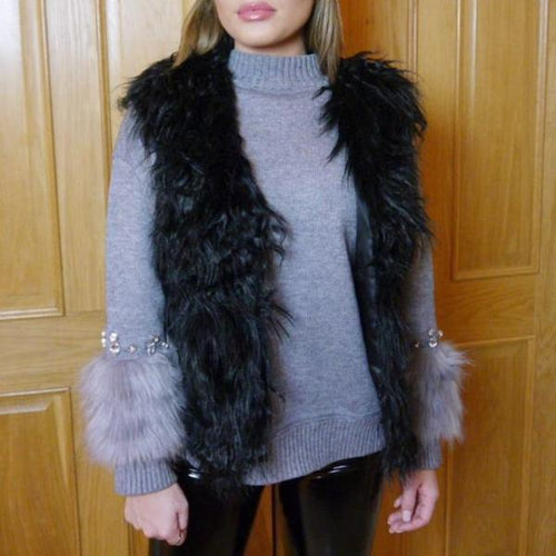 Black Shaggy Faux Fur Gilet