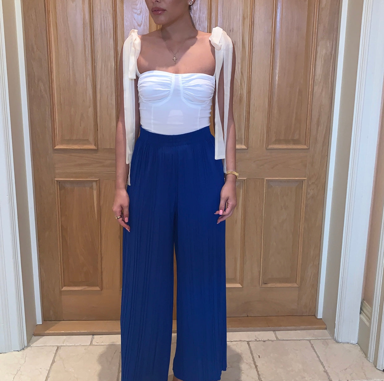 Blue Pleated Wide Leg Trousers