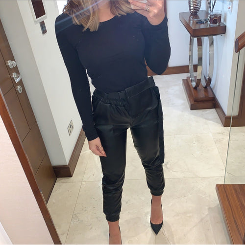 Black Faux Leather Joggers With Belt Bag