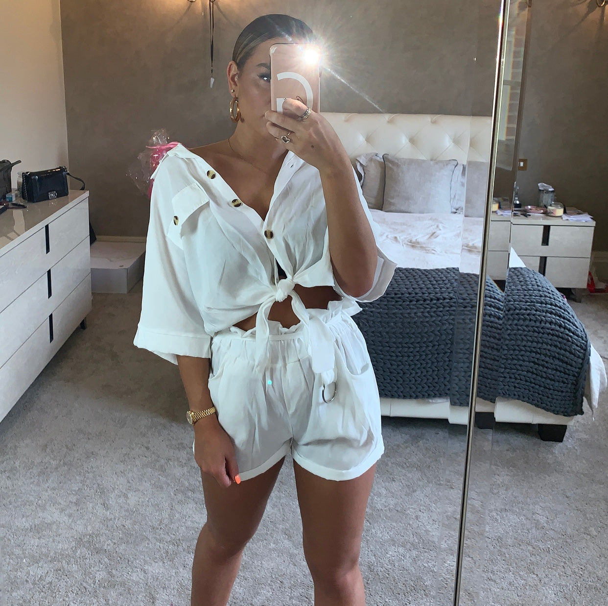 White Shorts Two Piece