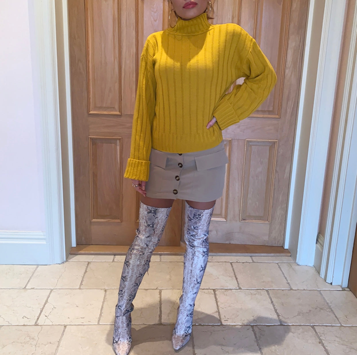 Yellow Roll Neck Jumper