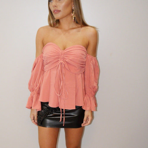 Pink Bardot Long Sleeve Top
