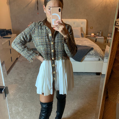 Tweed Button Up Dress