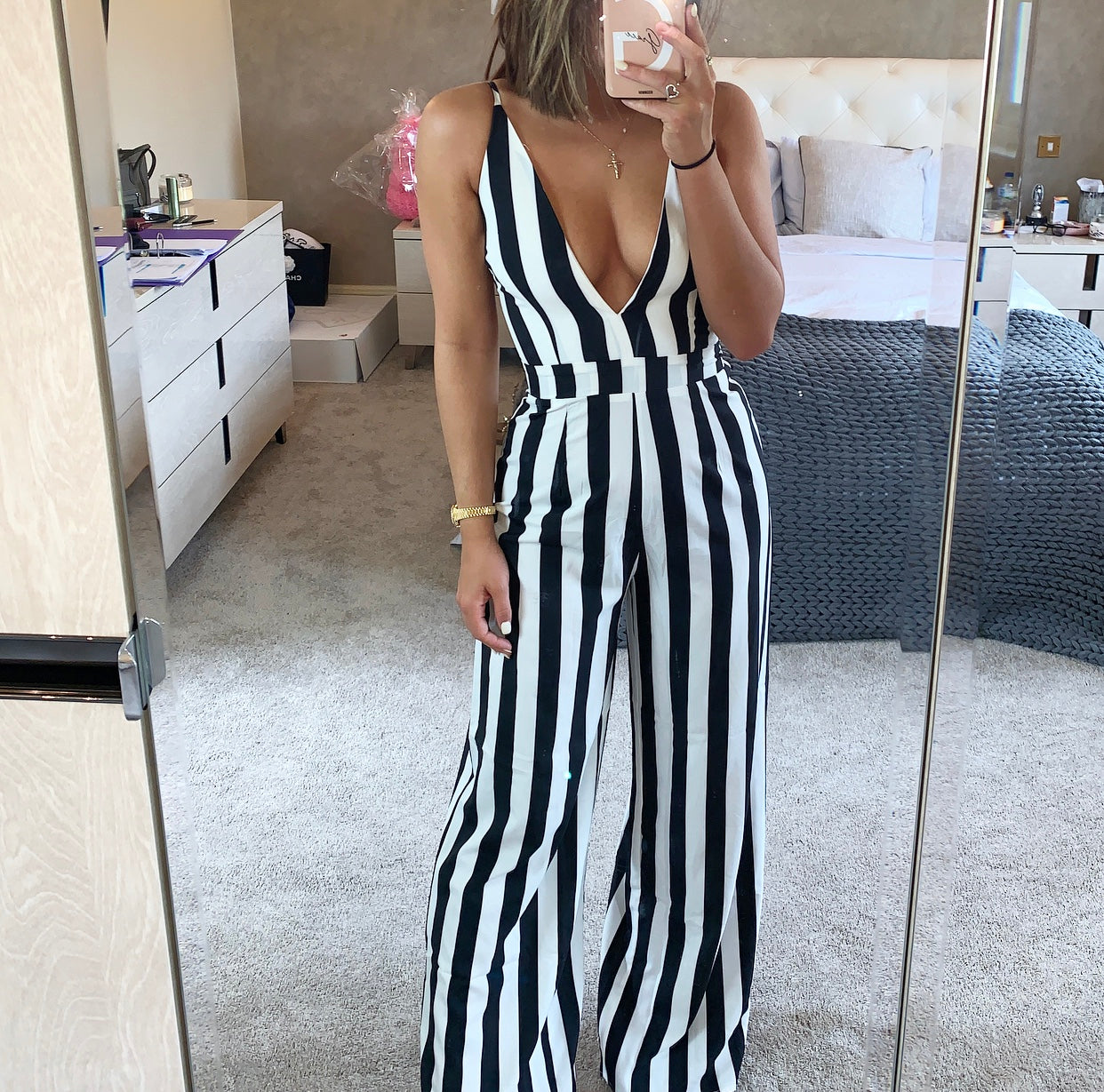 Deep Plunge Striped Jumpsuit