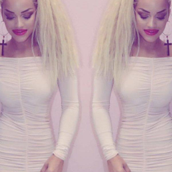 Baby pink Bardot Bodycon Dress, Off the shoulder & Long sleeves
