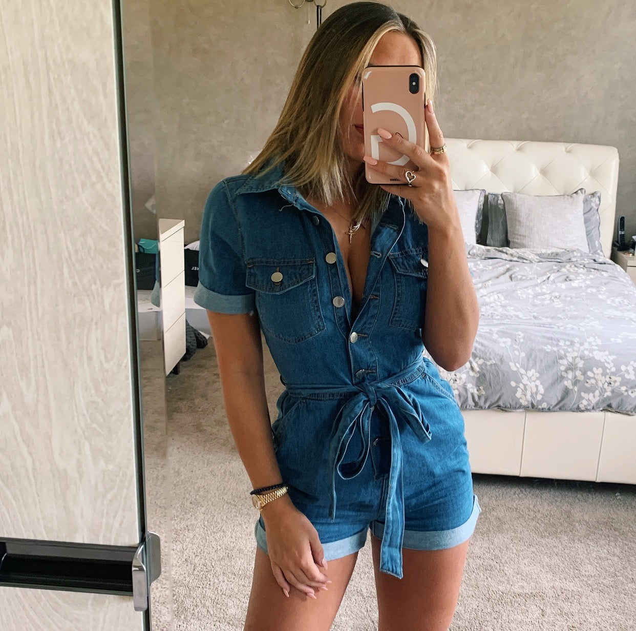 Denim Button Up Playsuit