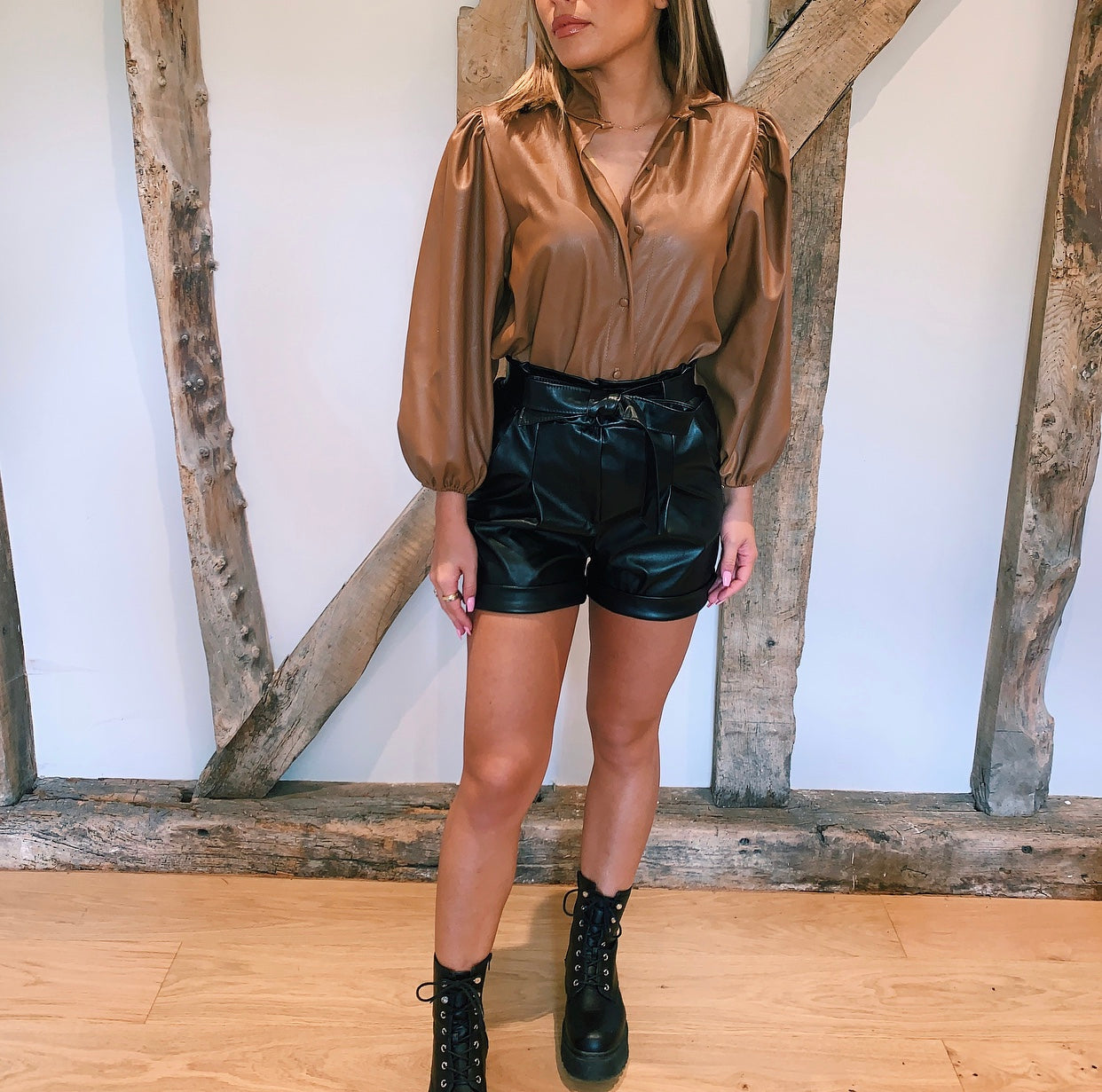 Brown Faux Leather Puff Sleeve Blouse Top