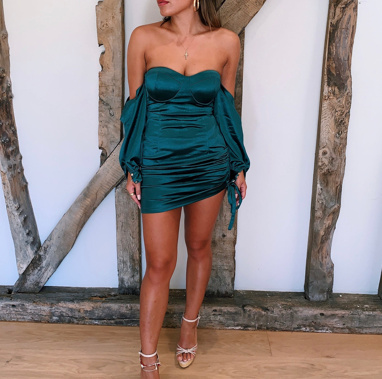 PRE ORDER - Emerald Green Bardot Satin Mini Dress