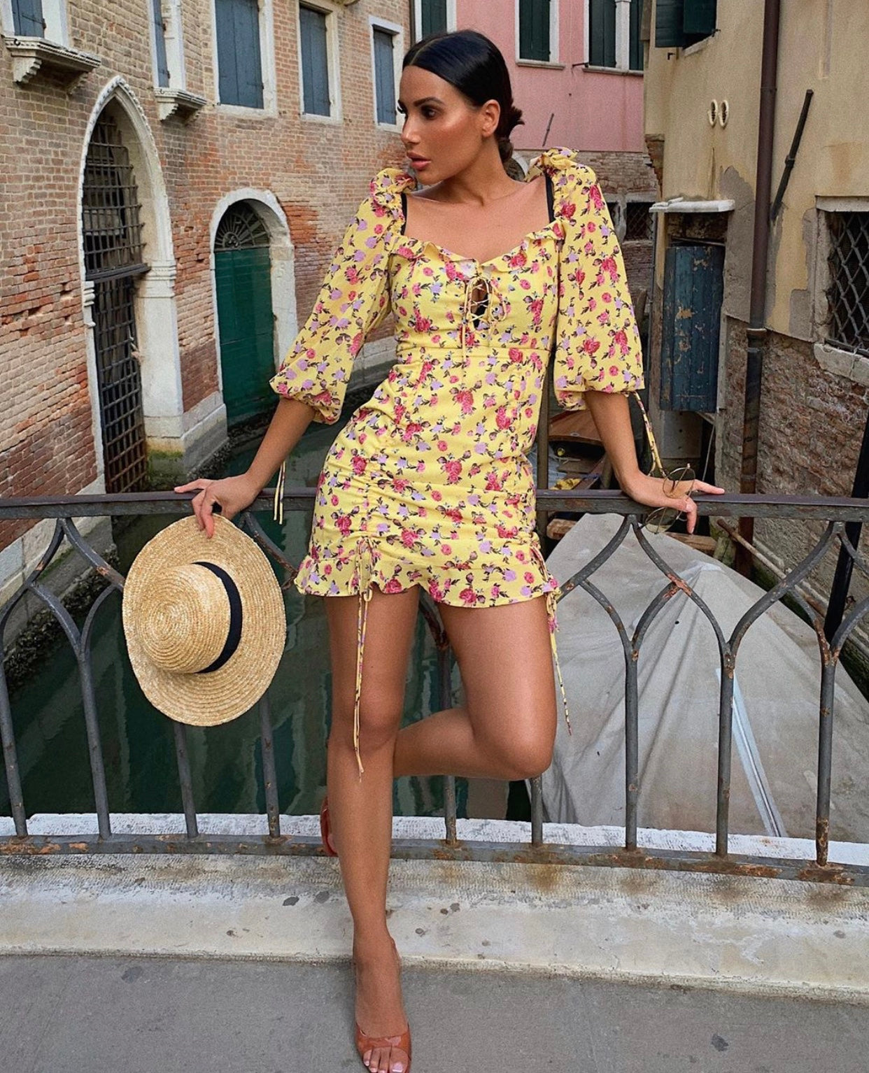 Yellow Floral Dress With Tie Detailing