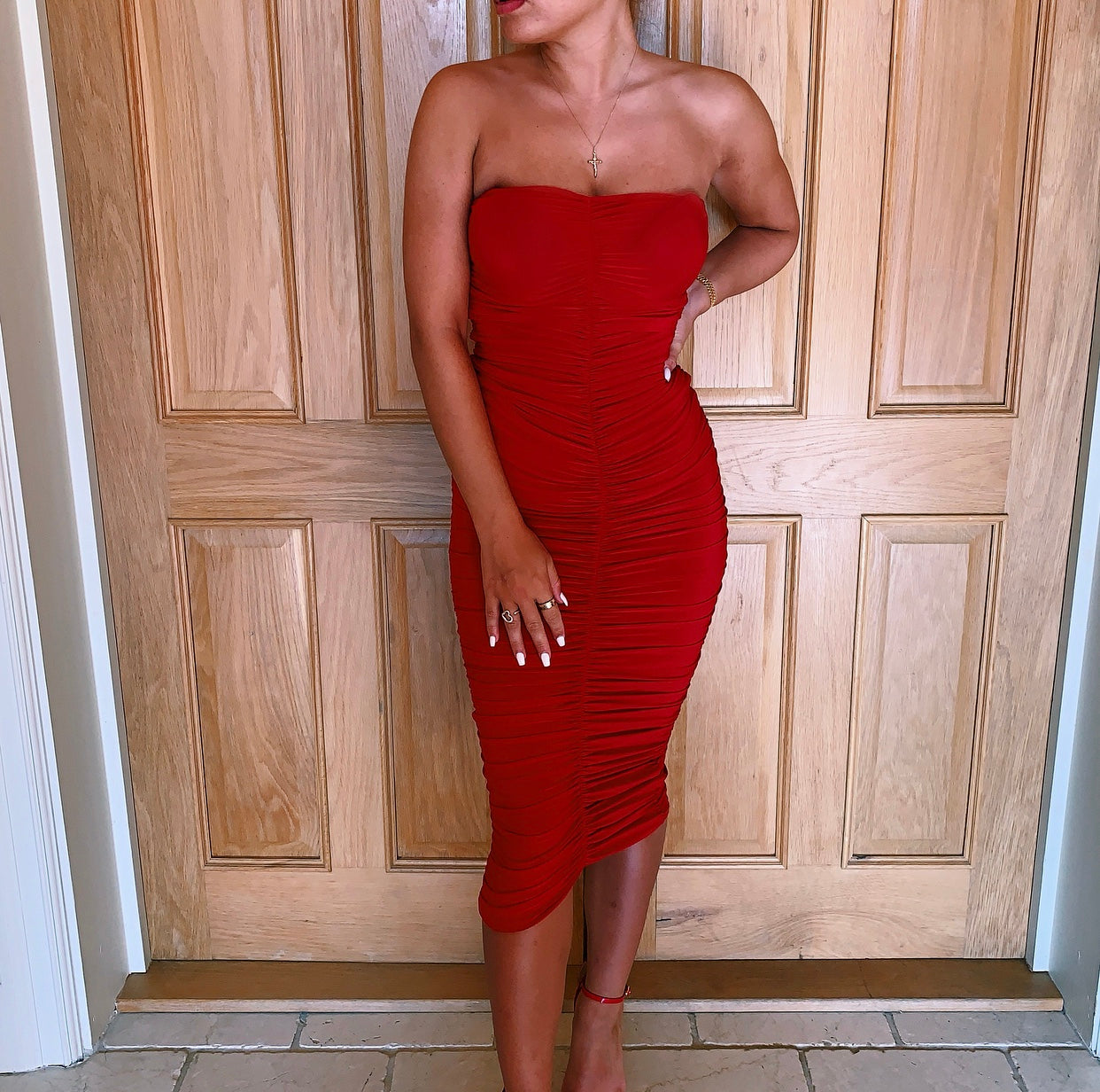 Red Ruched Bandeau Dress