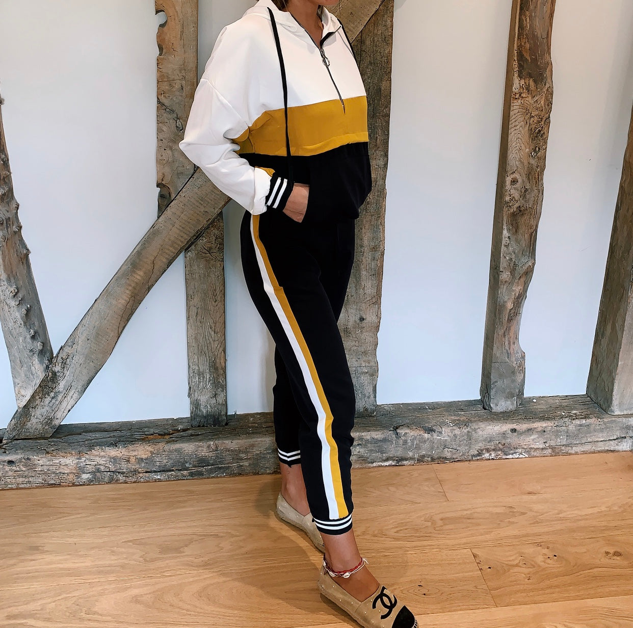 Yellow Colour Black Tracksuit Hoodie Set