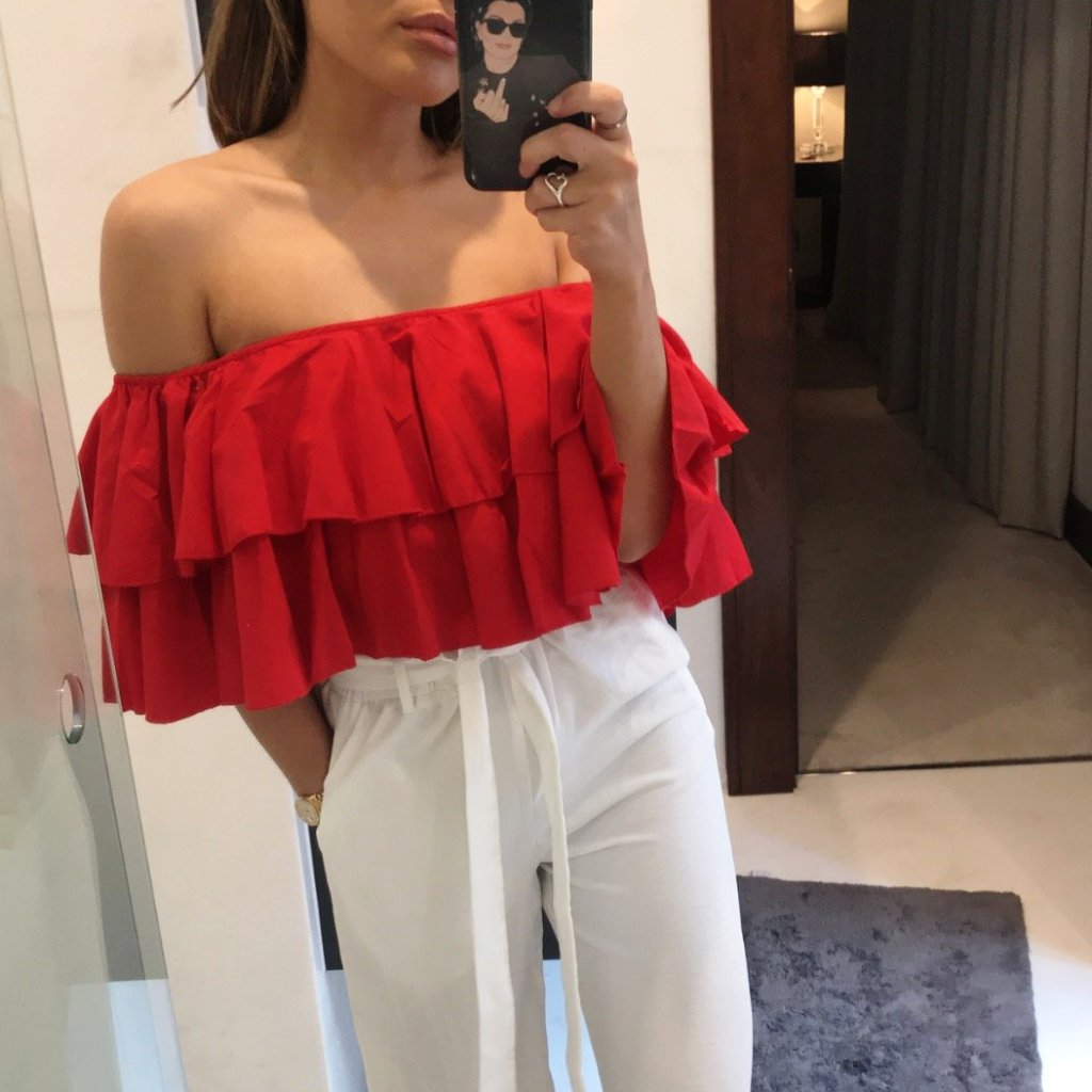 Red Ruffle Off The Shoulder Crop Top