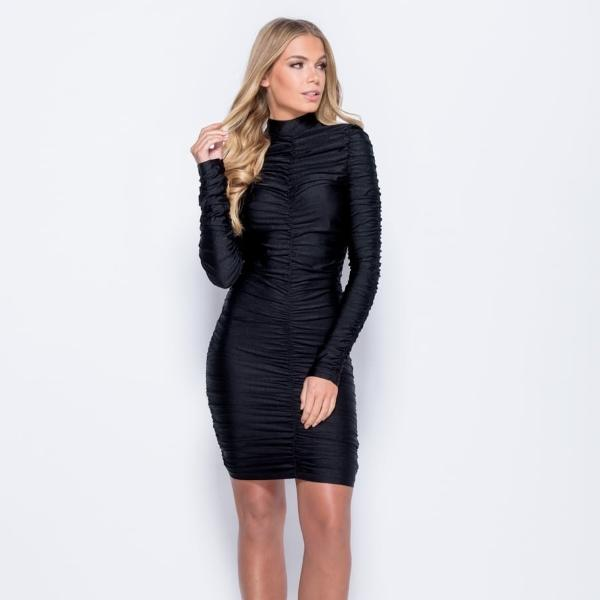 High neck ruched black dress, long sleeve midi, every girl needs a LBD
