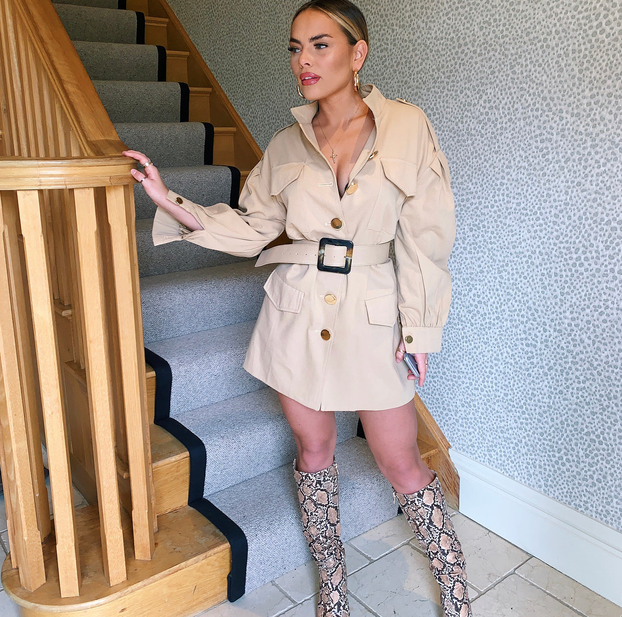 Beige Belted Military Style Jacket